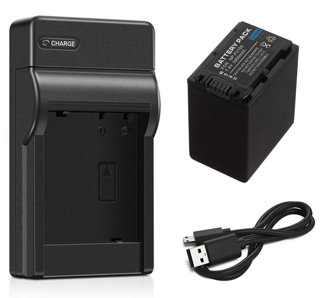 Paquete de batería + cargador para Sony Handycam HDR-CX110, CX115, CX116, CX130,...