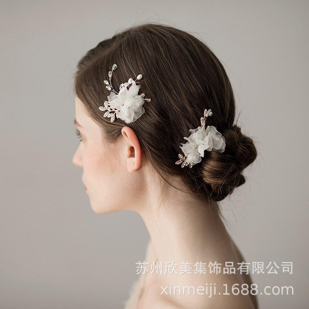 1 PCS Blush Rosa Floral Do Casamento Headpiece Bridal Pinos De Cabelo de Ouro Hairpin Cristal Cabelo Jóias de Casamento Da Noiva Peruca