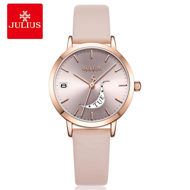 Julius Watch Auto Day Skeleton Women Quartz Watch Ladies Top Brand Luxury Female Wrist Watch Girl Clock Relogio Feminino JA-1076