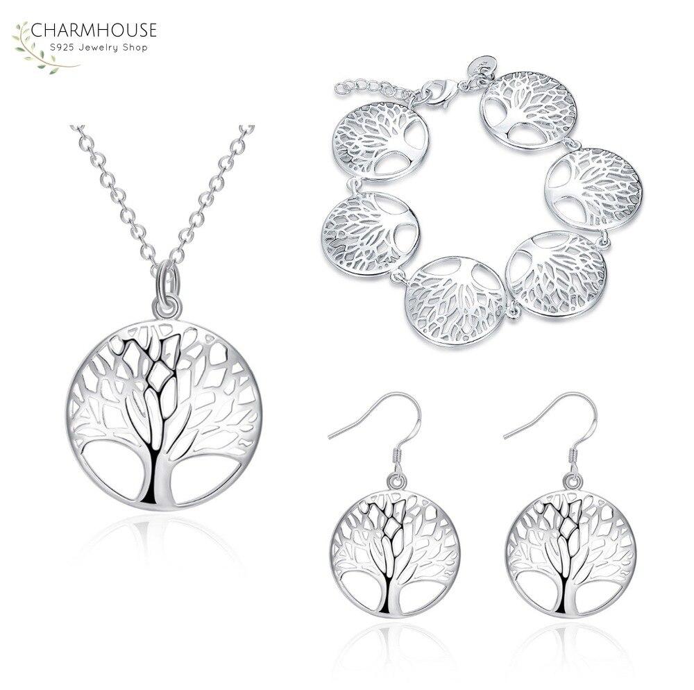 Prata 925 conjuntos de jóias para a vida feminina árvore redonda pingente colar brincos pulseiras 3 pçs conjuntos moda jóias acessórios
