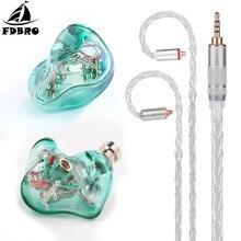 FDBRO HQ5 5BA 2.5mm/3.5mm/4.4mm dans loreille écouteur sur mesure Armature équilibrée autour de loreille écouteur avec MMCX pour la musique HIFI