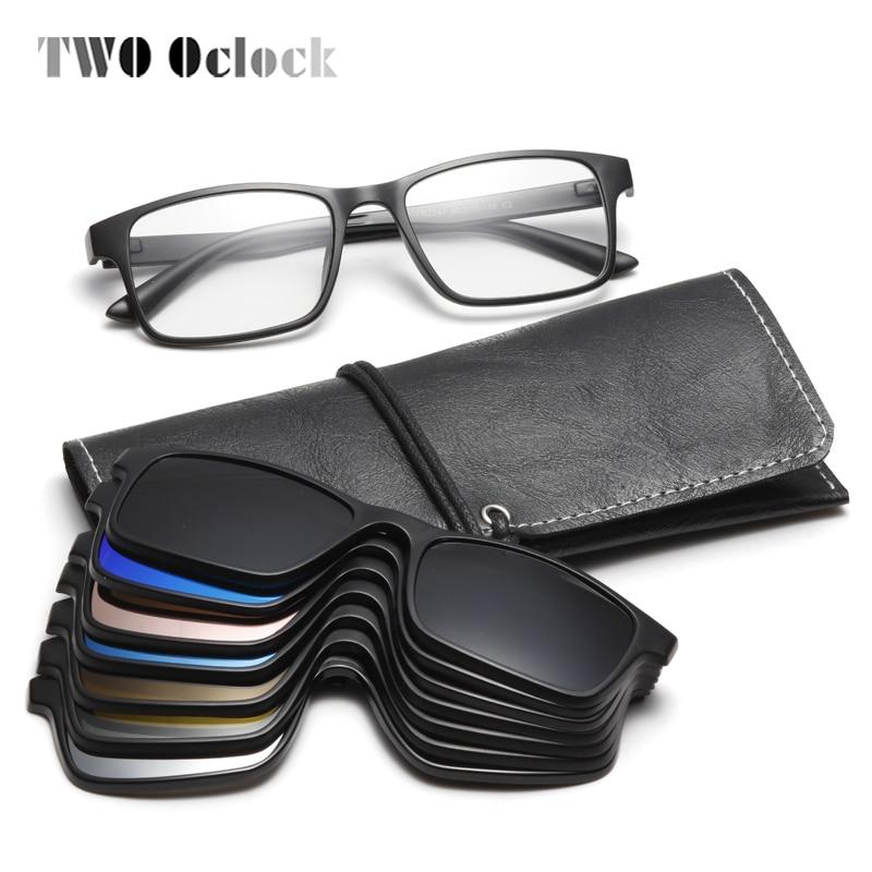 TWO Oclock Flexible Magnet Sunglasses Men Polarized Clip On Glasses Women 7 In 1 Ultra-Light Square