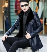 mens business leather casual mid long jacket coat slim fur lined b15