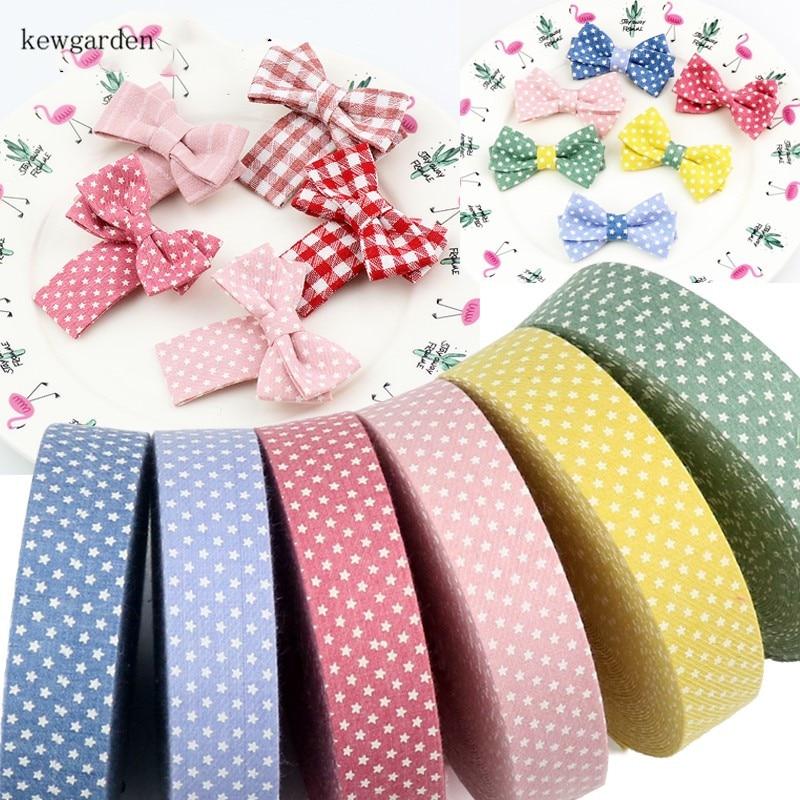 Kewgarden estampado estrellas tela cintas de tela de capas 10mm 25mm 40mm cinta hecha a mano Linda cinta DIY Bowknot Riband 6 m/lote