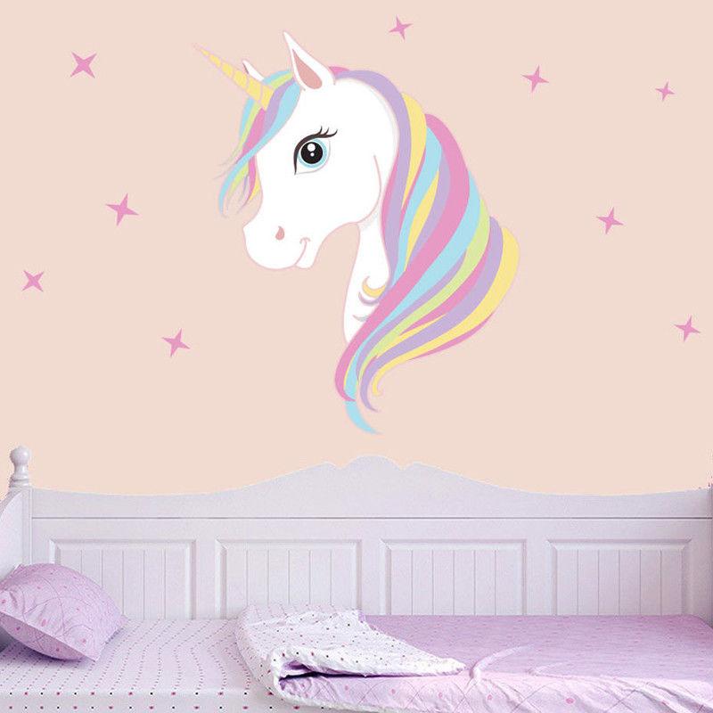 Cute Unicorn & Bling Stars Pink Wall Stickers Decal Art Vinyl Kids Baby Girl Boys Home Room Fancy Decors Birthday Christmas Gift