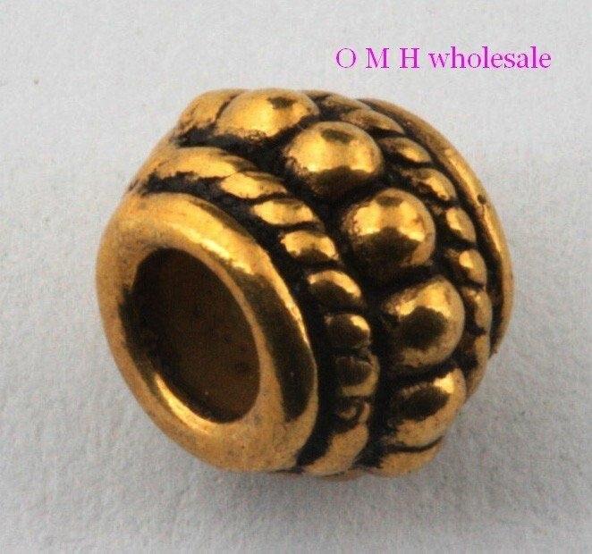 Omh atacado livre navio 18 pçs cor dourada espaçador contas jóias contas de metal 6x8mm zl500