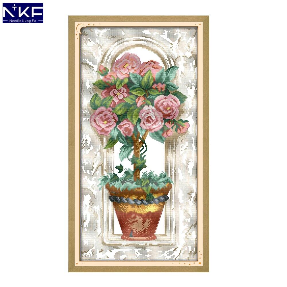 NKF róże na parapecie wybity krzyż zestaw do szycia 11ct 14ct zestaw do haftowania Chrinese haft krzyżykowy ścieg do wystroju domu