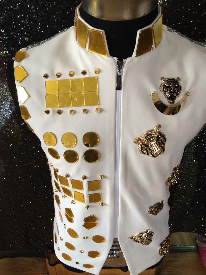 New fashion Male Gold mirror vest jacket costumes Nightclub singer dancer stage performance wear dj ds costume