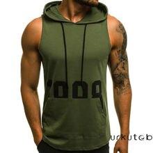 Sudadera con capucha de algodón sin mangas para hombre, camisetas sin mangas para entrenamiento muscular, camisetas de Fitness para hombre, chaquetas, sudaderas