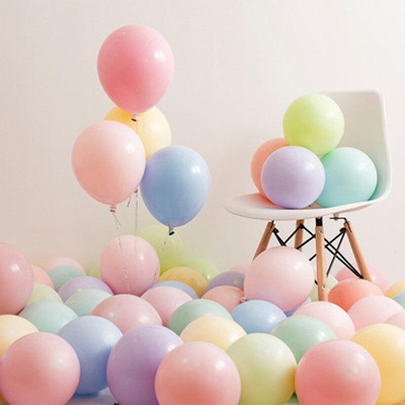 100 pces 10-inch macaron látex balão aniversário festa de casamento festival suprimentos de hélio