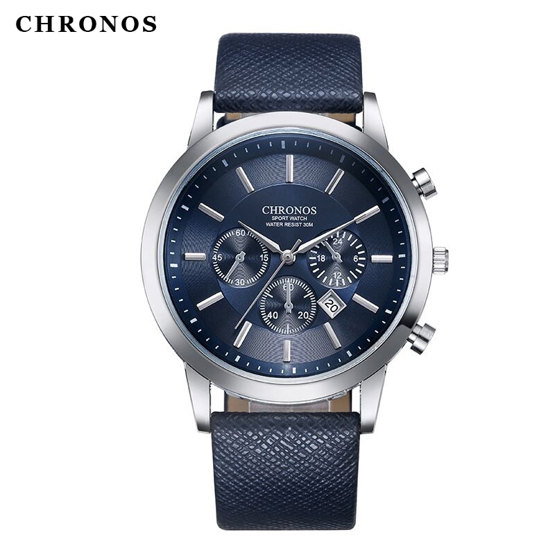 CHRONOS Mens Sport Wristwatches Military Date Casual Leather Quartz Watches Male Large Round Analog Watch Clock Orologio Uomo black ink world map dial watch natural bamboo wood watch fashion casual leather men quartz analog round wristwatches clock male