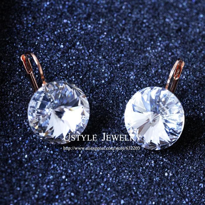 Pendientes de cristal austriaco oro rosa USYTLE para mujer JE0013
