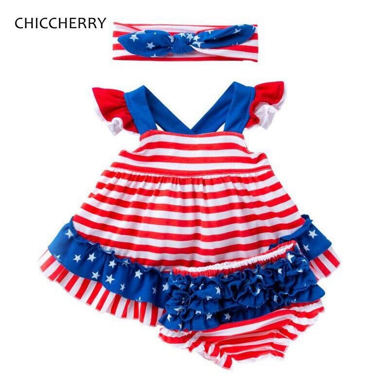 Cuarto de julio bebé chica ropa de verano ropa de niños rayas Tops pantalones de PP venda 3 piezas niñas conjuntos de ropa de niño trajes de fiesta