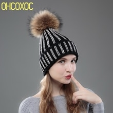 brand winter hats for women woman new bling crystal with real mink fur pompom new beanies winter hat