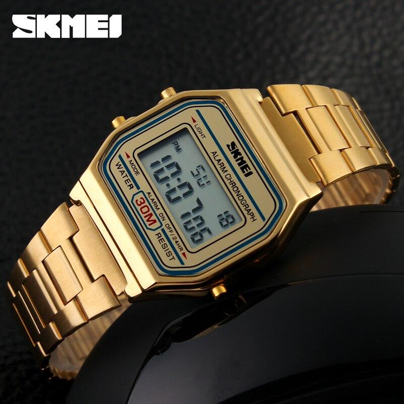 SKMEI-ساعة يد رقمية فاخرة للرجال ، ساعة يد رقمية LED ، رياضية ، عسكرية ، ستانلس ستيل ، مقاومة للماء ، 2019