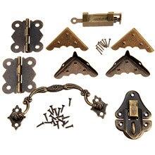 9 stks/set Meubels Hardware Chinese Messing Hardware Antieke Houten Doos Klink Hasp + Pull Handvat + Scharnieren + Hoek Protector + oude Lock