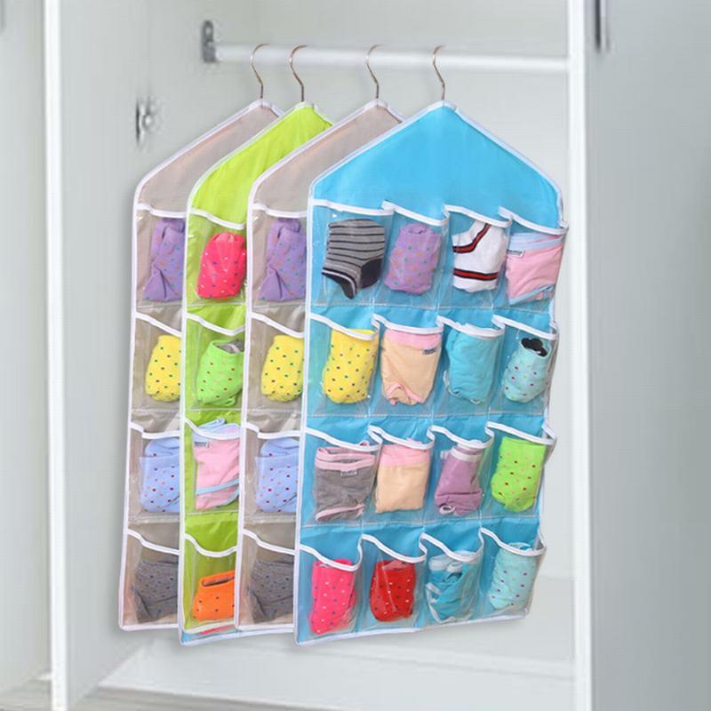 16 bolsos limpar pendurado saco organizador meias sutiã roupa interior rack multicamada de montagem na parede cabide organizador saco de armazenamento