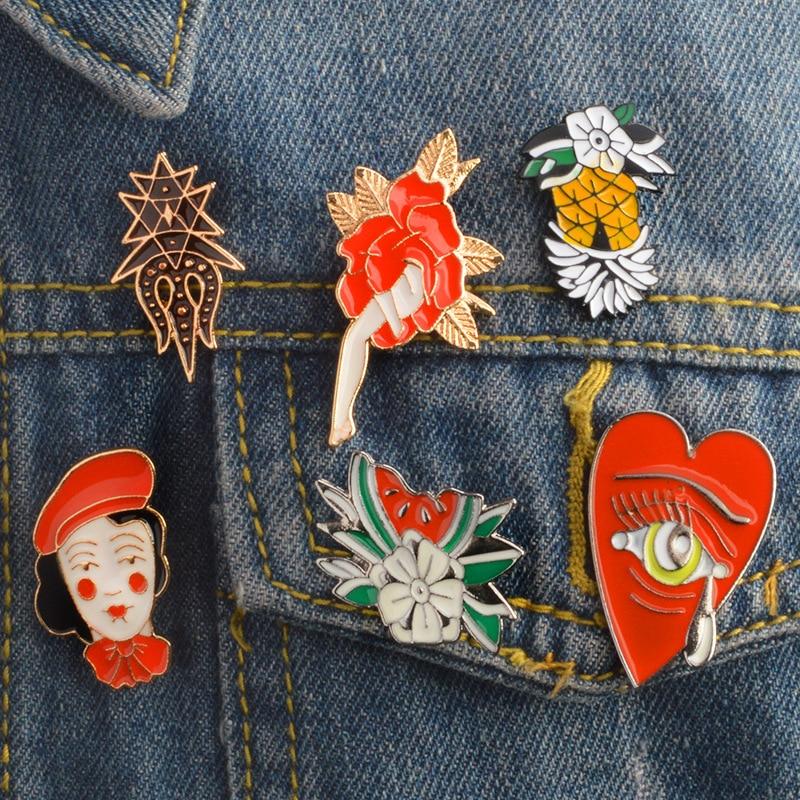 Abacaxi melancia flores pouco vermelho equitação capa menina flor de fadas chorando coração lágrimas esmalte broches moda feminina lapela pino