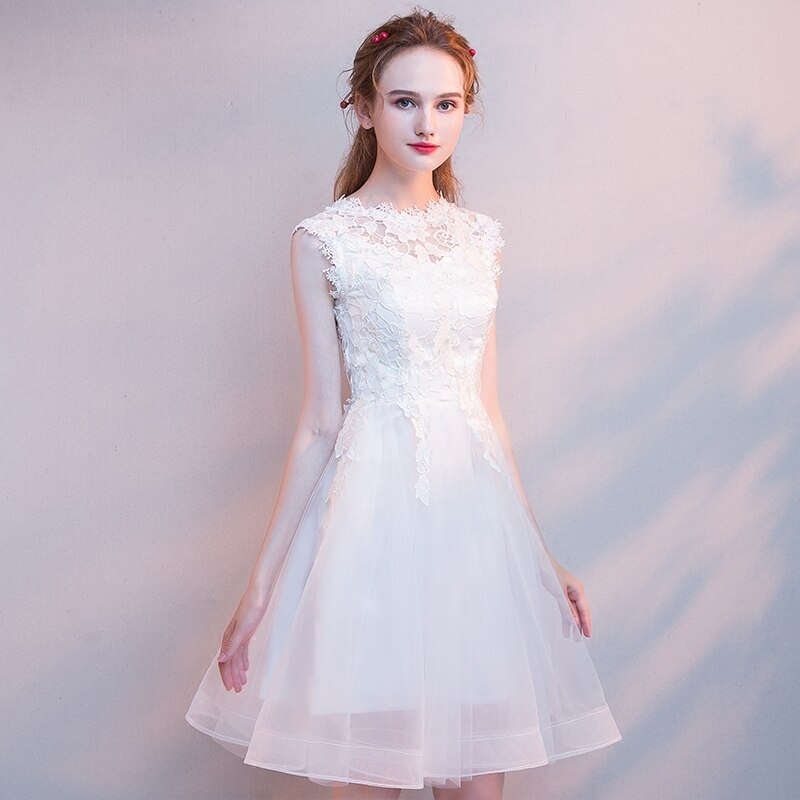 Lace Sleeveless Homecoming&Graduation Dresses Mini Sexy Women Formal Party Mesh Dress O-neck Evening Gown Vestidos De Festa