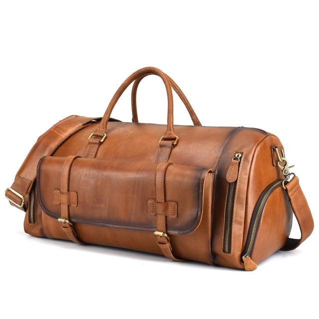 Bolso de mano de gran capacidad para hombre, bolso de viaje de cuero genuino para hombre, bolso bandolera con cremallera sólida, bolso de estilo europeo Z711