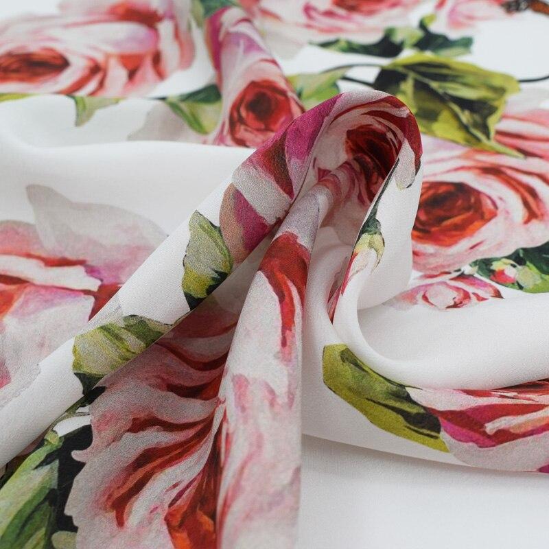 2018 новые розы бабочки креп DE chine натуральный шелк ткань для платья на лето платье telas por metros tissu au metre vestido