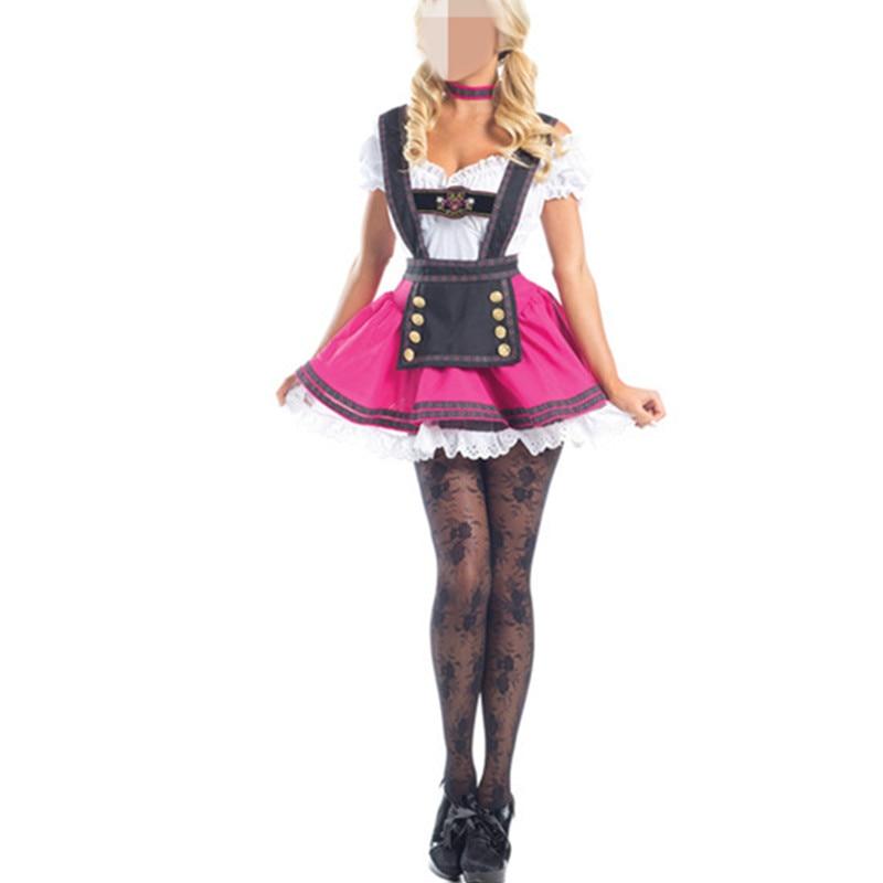 Disfraz de chica cerveza alemana Oktoberfest, sirvienta bávara, vestido elegante para mujer, disfraz rosa para disfraz de sirvienta, fiesta