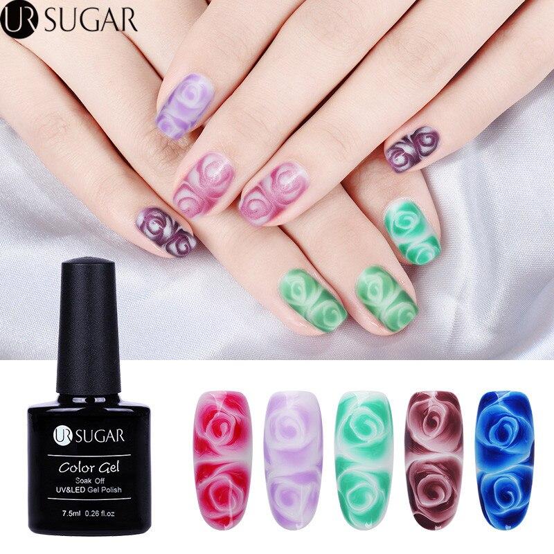 UR SUGAR 2Pcs Clear White Blossom Gel Flower Blooming with Nail Paint Gel Glitter Color Soak Off Nail Art UV Gel Polish Set DIY