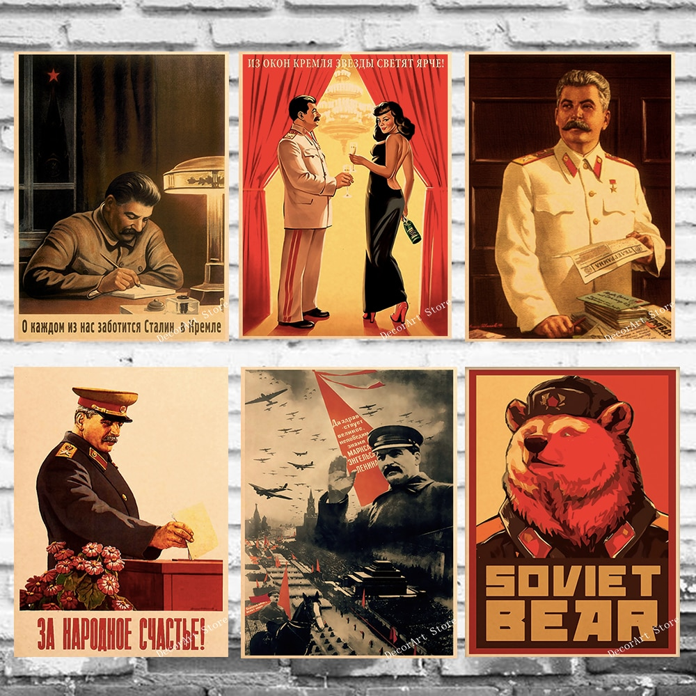 Retro Stalin cccccp Unión Soviética URSS lienzo pintura Vintage pared Kraft carteles recubiertos pegatinas de pared decoración del hogar imagen regalo