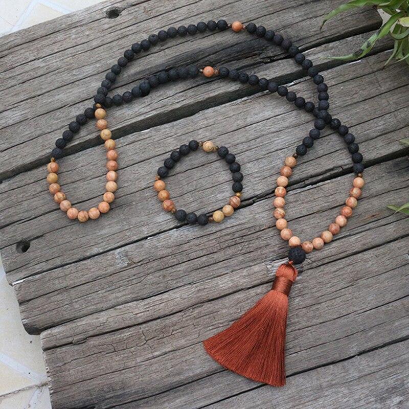 8mm Natural Stone Beads,Black Lava, Rainbow Stone, Warm, JapaMala Sets,Spiritual Jewelry,Meditation,Inspirational,108 Mala Beads