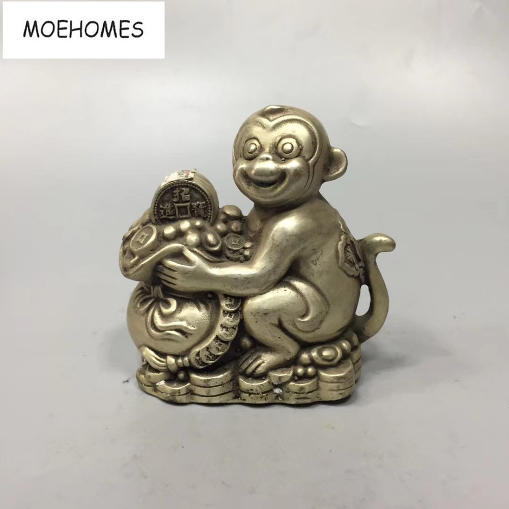 MOEHOMES China Tibet Silver Ancient fengshui Wealth, money, treasure copper Statue-Monkey, purse metal crafts home decoration