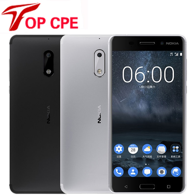 "Original Nokia 6 LTE 4G Mobile Phone 4G RAM 1080P Dual Sim Android 7.0 Octa Core 5.5"" 16.0 MP Fingerprint Refurbished Smartphone"