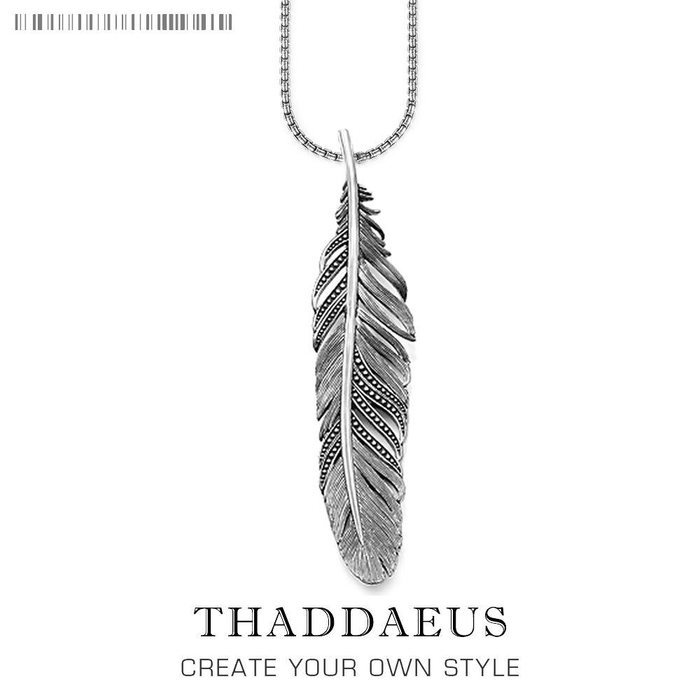Colar de penas preto, 2018 nova marca ts 925 prata esterlina moda jóias thomas estilo rebelde cruz bijoux presente para mulheres masculinas