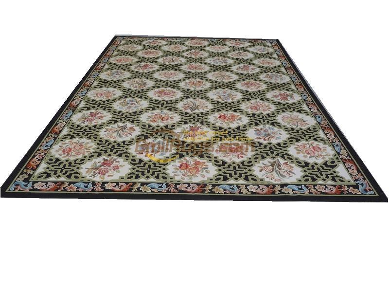 Alfombra hecha a mano, alfombras Vintage para sala de estar, alfombra cuadrada, alfombra Aubusson, lana Natural de oveja