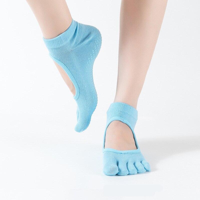 8 colors 1 Pair New Anti-Slip FOR Women Yoga Sport Socks Ankle Grip Durable Colorful Five Fingers Cotton Full Toe Yoga Socks A