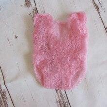 Handkknit Newborn Girl Romper Baby Shower Gift Newborn Pink Overalls Newborn Photography Props