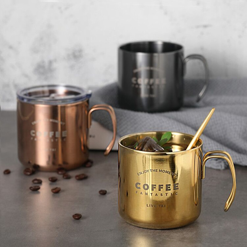 304 tazas de café de acero inoxidable doble titanio Anti-taza caliente Chapado En Oro taza de café Rosa plateado desayuno tazas de leche 350ml