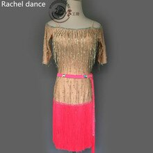 Frange robe de danse latine fille harnais dos ouvert sans manches Samba salle de bal Tango danse vêtements enfants gland robe de danse latine