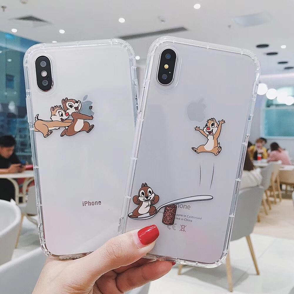 Cute Cartoon Chip Dale squirrel Transparent interesting phone case cover for iphone 11 Pro X XS Max Xr 7 8 6 s plus Coque Fundas