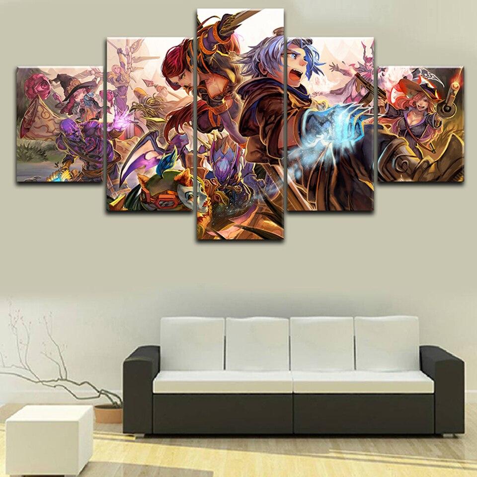 Decoración de pared para el hogar, impresión en Hd Modular de 5 piezas, pósteres de juegos de League of Legends, pintura en lienzo para el marco de ilustraciones del dormitorio