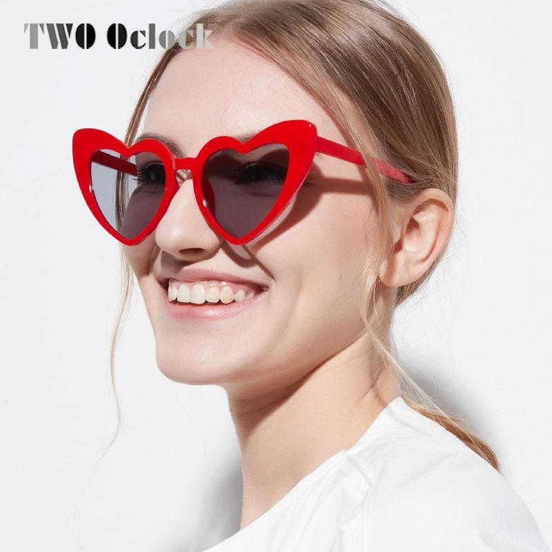 TWO Oclock Heart Shaped Sunglasses Women Love Spectacles Female Red Lolita Eyeglasses UV400 Cheap Lady Sun Glasses Oculos 818503