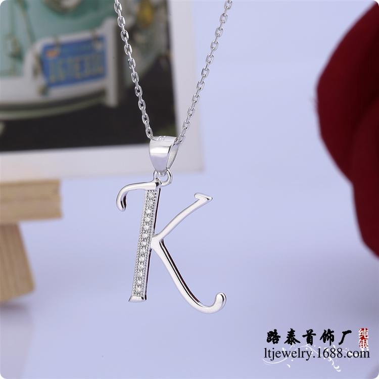 BLAL011 colgante de plata de circón 925, cadenas collares joyas, colgantes de letra K, Envío Gratis