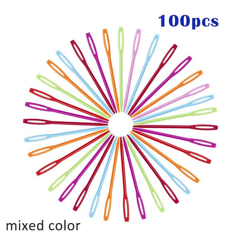 Ferramentas de tecelagem agulhas de tricô ganchos de crochê 7 cm tapeçaria fio de lã agulha de plástico muliti-cor camisola diy 100 peças