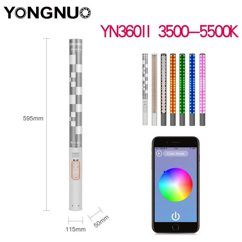 YONGNUO YN360II 3200 K-5500 K 5200 мАч литиевая батарея RBG ручной светодиодный видео свет для Samsang Huawei HTC iPhone ios 6 6s 7 8 Plus