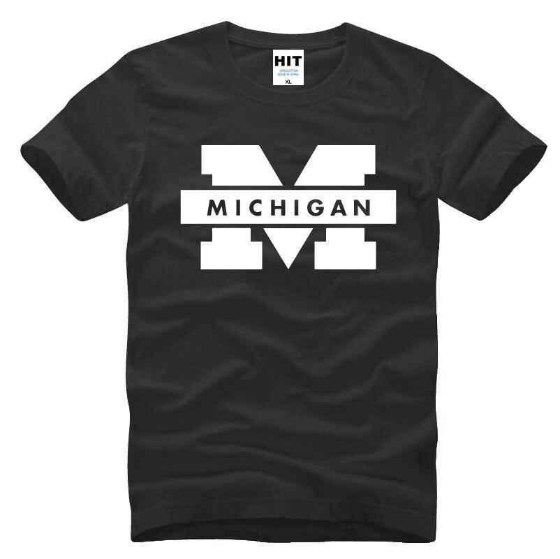 Camiseta de hombre con Logo impreso de la Universidad de Míchigan para hombres 2016 manga corta cuello redondo Camiseta Casual nuevas Camisetas para Hombre