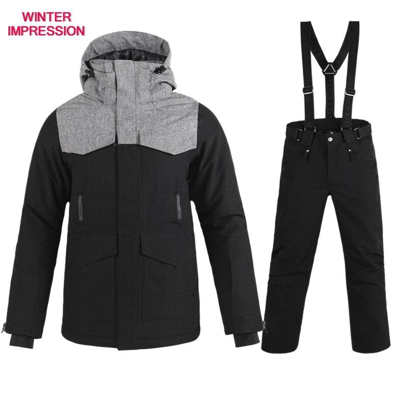 أطقم تزلج للرجال, طقم تزلج علامة تجارية جديدة للرجال سترة + بنطلون ملابس الثلج للبالغين ملابس دافئة مقاومة للماء-30 درجة بدلة تزلج للرجال