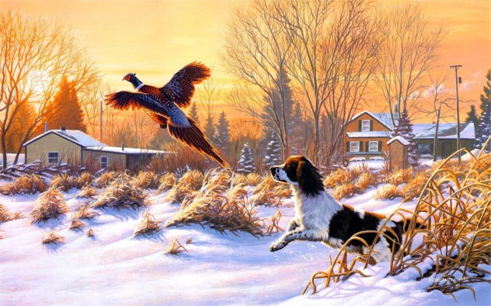 Pinturas de Frank Mittelstadt Levantando-se Da Arte Da Natureza da Neve do Inverno do Cão de Caça Do Pássaro Voar Do Nascer Do Sol 4 Tamanhos Tecido Canvas Poster Print