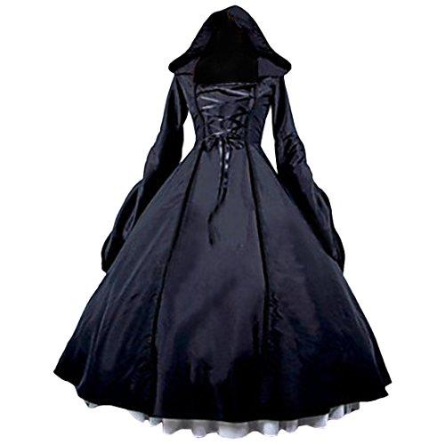 Gothic Schwarz Hexe Cosplay Mit Kapuze Kleid party kleid prom kleid