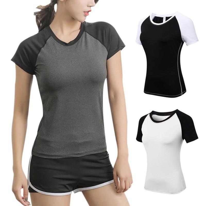 Ladies Yoga Skinny Short Sleeve Fitness Running Sports Training Quick Dry Elastic Color Matching Round Neck T-Shirt