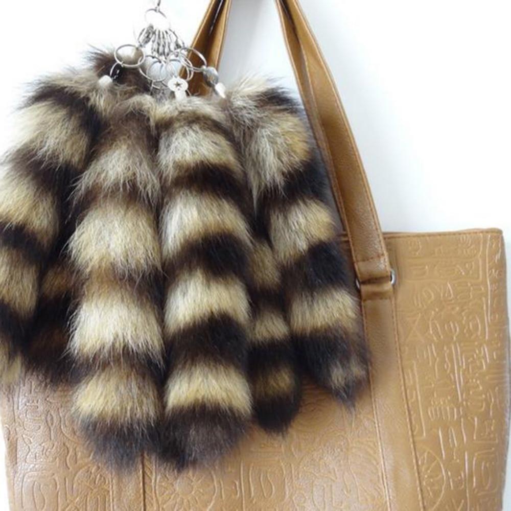 1pc genuine raccoon raposa cauda de pele natural cauda chaveiro para as mulheres saco decoração do carro presentes jóias