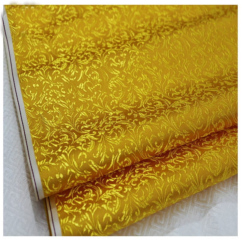 HLQON brocade malt flower golden fabric patchwork felt tissue telas bed sheet cheongsam dress children coat cloth 75cm width